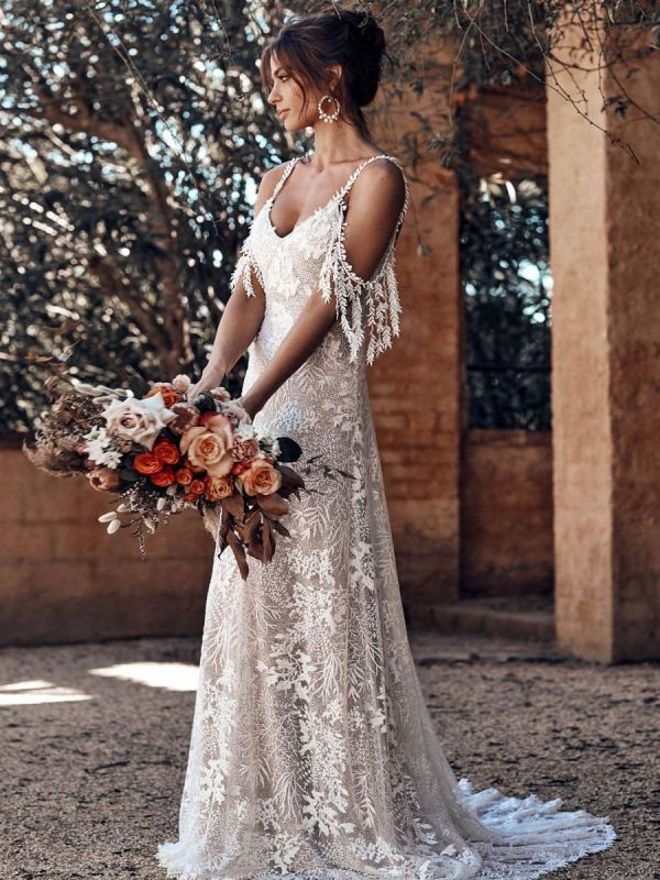 Lace Wedding Dress With Train Ivory A-Line Sleeveless V-Neck Backless Bridal Gowns
