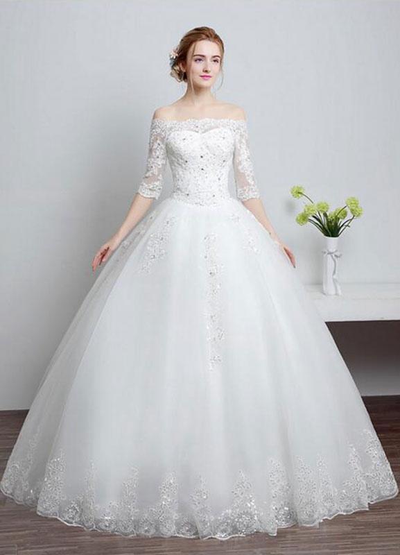 Brautkleid aus Spitze schulterfrei Elfenbein A-Linie Lace Up Half Sleeve Pailletten bodenlangen Brautkleid