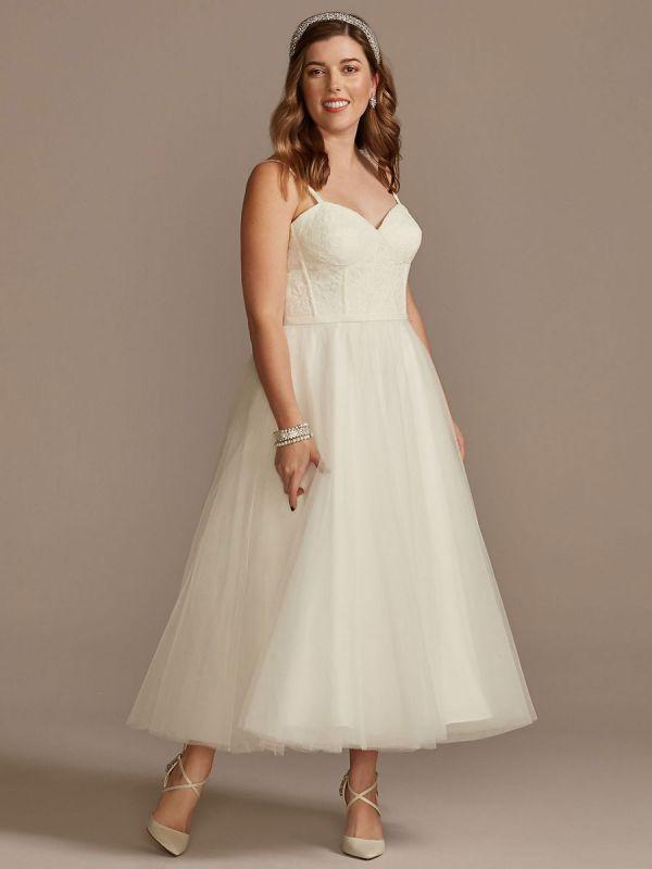 Kurzes Hochzeitskleid Weiß Ärmellos Tee-Länge Herzausschnitt Ärmellos A-Linie Natürliche Taille Tüll Brautkleider