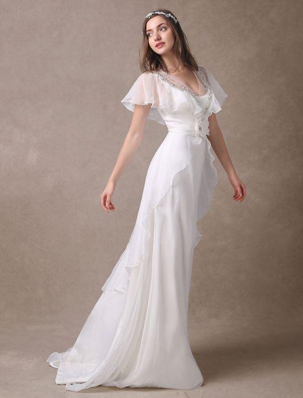 Glamorous Court Schleppe Elfenbein Brautkleid mit Perlenstickerei V-Ausschnitt Exklusiv