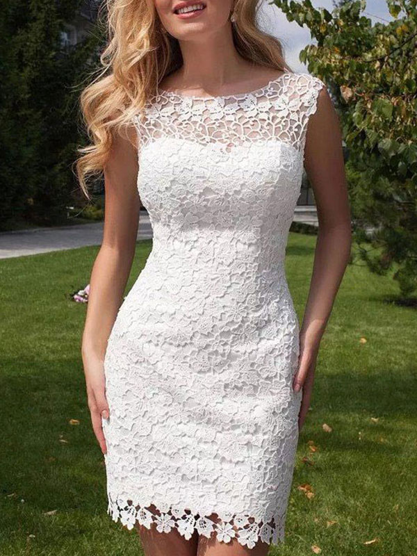 Short Wedding Dress 2021 Lace Jewel Neck Sleeveless Bridal Gowns With Panel Train