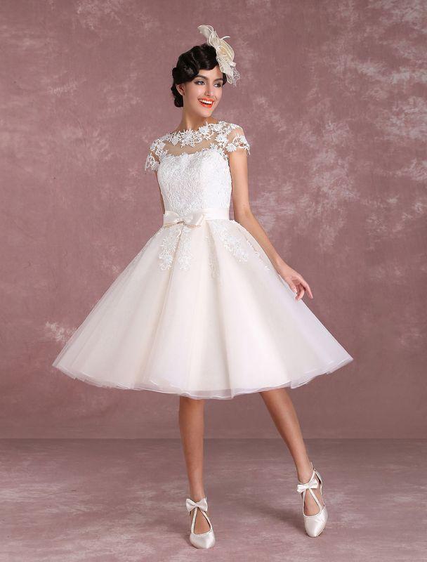 Vintage Wedding Dresses Short Lace Applique Bridal Gown Illusion Bow Sash Bridal Dress Exclusive
