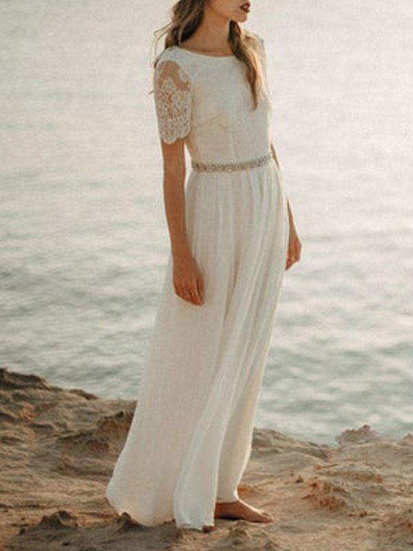 Einfache Hochzeitskleid A-Linie Jewel Neck Spitze Kurzarm Bodenlangen Chiffon Strandhochzeit Brautkleider