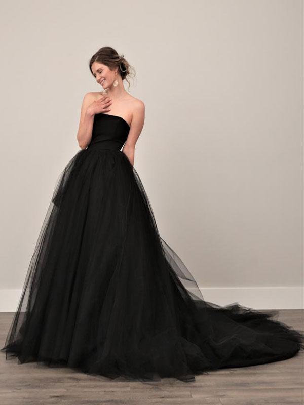 Black Wedding Dresses A-Line Strapless Pleated Taffeta Tulle Chapel Train Bridal Dress