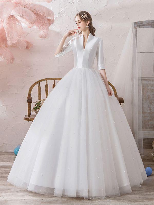 Vintage Wedding Dresses Princess High Collar Half Sleeve Floor Length Tulle Traditional Bridal Gowns