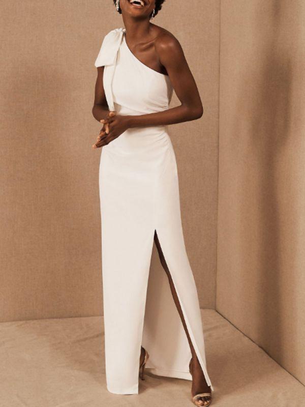 Einfache Brautkleider Mantel One Shoulder Ärmellose Schleifen Brautkleider