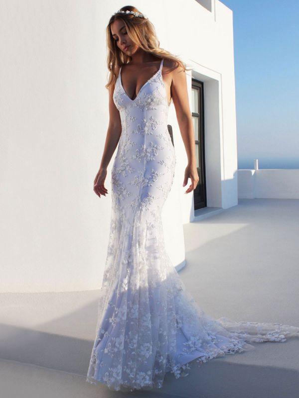 Sexy Mermaid Wedding Dress White V-Neck Backless Lace Bridal Dresses