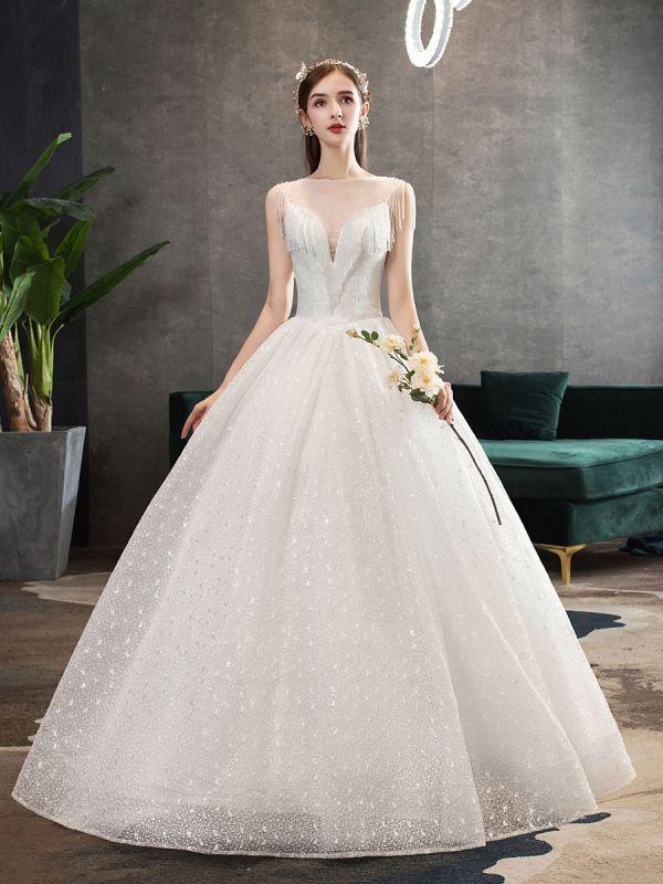 Princess-Wedding-Dresses-Ivory-Illusion-Neck-Beaded-Sleeveless-Floor-Length-Bridal-Gown