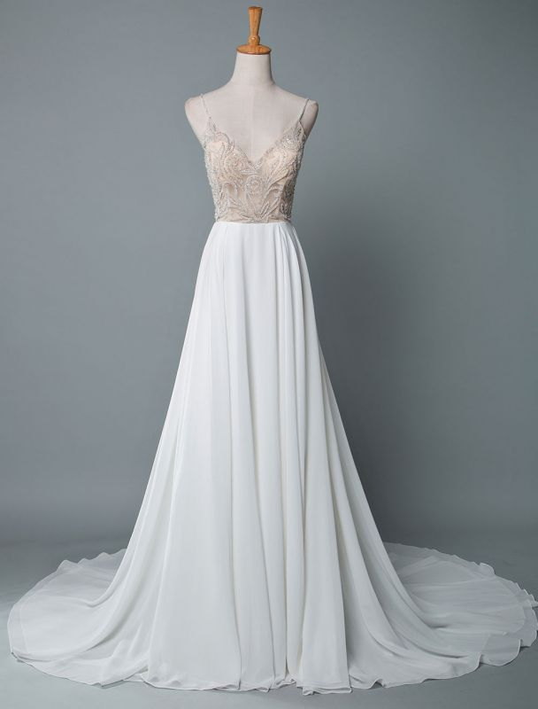 Simple Wedding Dress A Line V Neck Sleeveless Embroidered Chiffon Bridal Dresses With Train