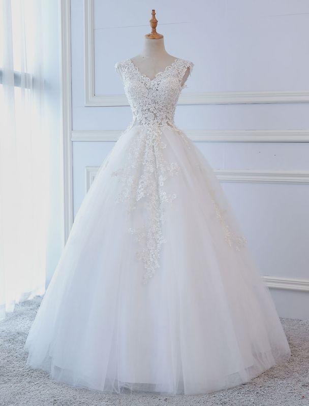 Robes de mariée princesse robes de bal dentelle col en V sans manches longueur de plancher robes de mariée