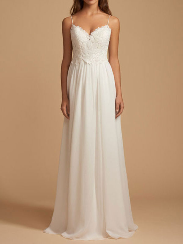 Simple Wedding Dress 2021 A Line V Neck Straps Sleeveless Lace Chiffon Bridal Dresses With Train For Beach Party