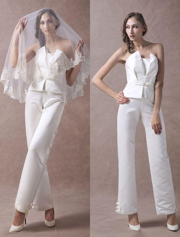 Wedding Jumpsuits Ivory Strapless Peplum Satin Bow Sash Long Bridal Jumpsuits Exclusive
