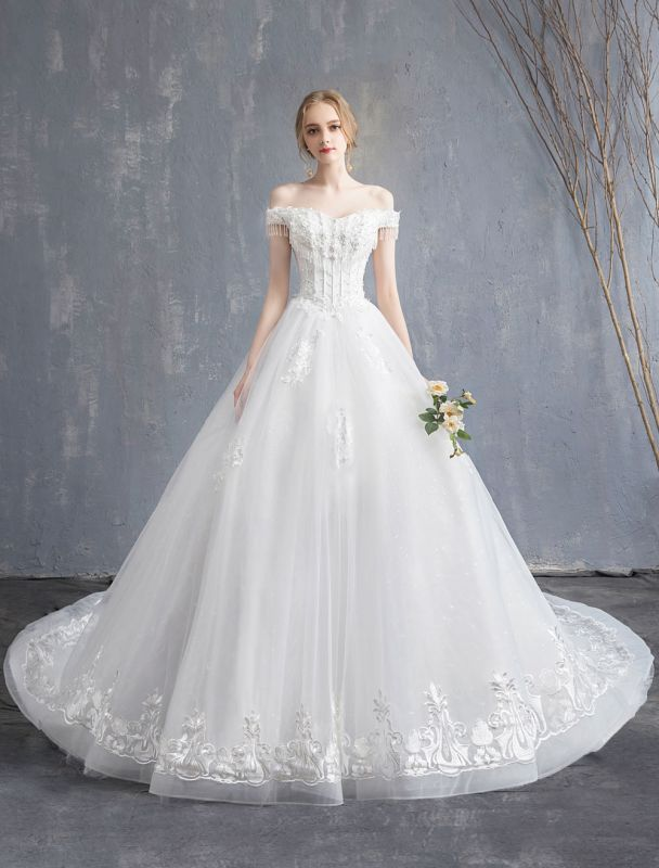 Princess Wedding Dresses Ball Gown Lace Beaded Chains Off The Shoulder Bridal Dress