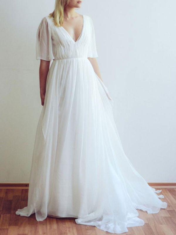 Simple Wedding Dress V Neck Half Sleeves Pleated A Line Floor Length Bridal Dresses