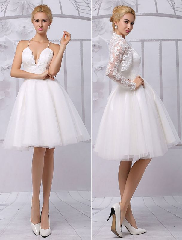 Tüll Knielanges Spaghtti Brautkleid in A-Linie mit langen Ärmeln Spitzenwickel Exklusiv