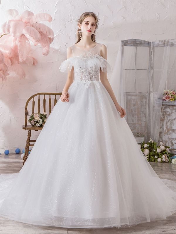 Wedding Dress Princess Silhouette Jewel Neck Short Sleeves Natural Waist Cathedral Train Bridal Dresses