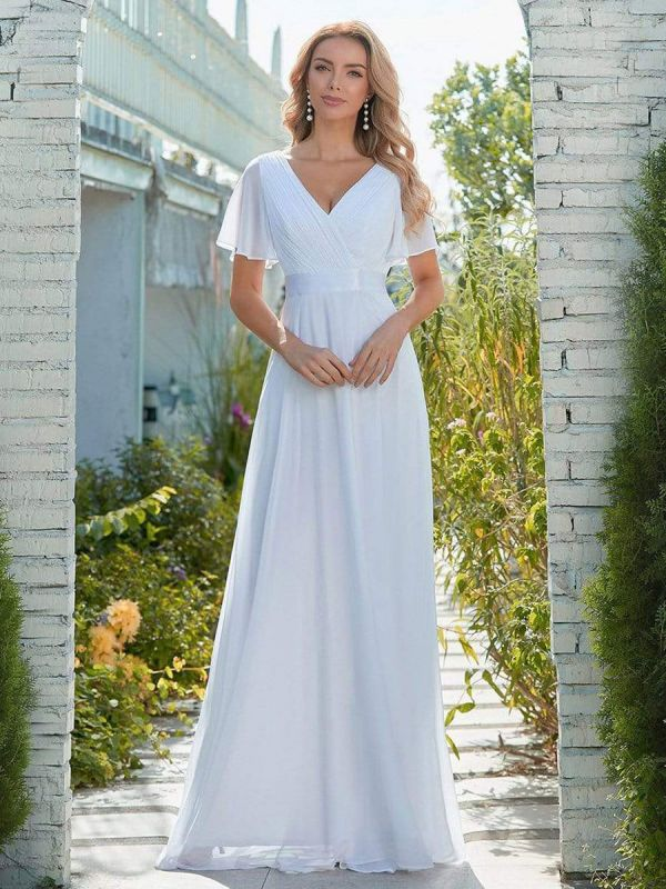 Simple Wedding Dress Chiffon V-Neck Short Sleeves Backless A-Line Long Bridal Gowns