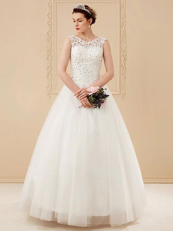 White Jewel Neck Sleeveless Soft Tulle Lace Up Floor Length Bride Dresses