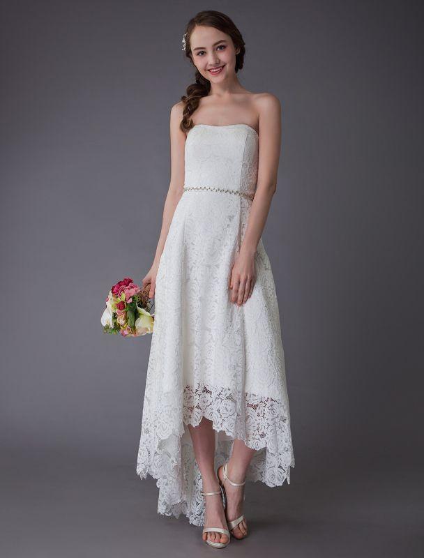 Einfache Brautkleider Spitze High Low Trägerlose Schärpe Asymmetrisches Kurzes Brautkleid Exklusiv