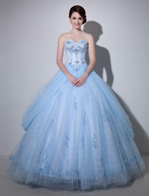Robe de mariée bleue robe de bal en dentelle longueur au sol chérie sans bretelles perles princesse robe de mariée exclusive