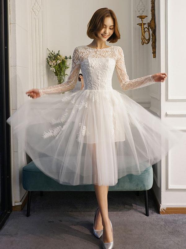 Kurze Brautkleider Weiße Spitze Langarm Illusion Tee Länge Brautkleid