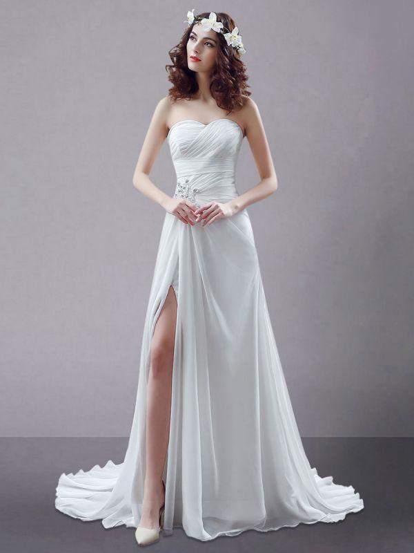 White Wedding Dress Strapless Twisted Split Rhinestone Chiffon Wedding Gown