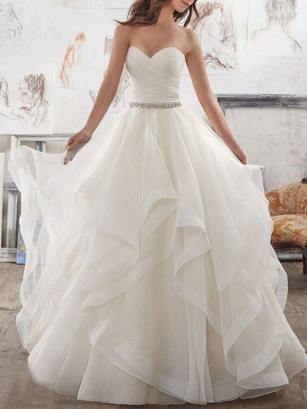 Brautkleider 2021 Ballkleid Sweet Heart Ärmellos Bodenlangen Asymmetrie Saum Tüll Brautkleid