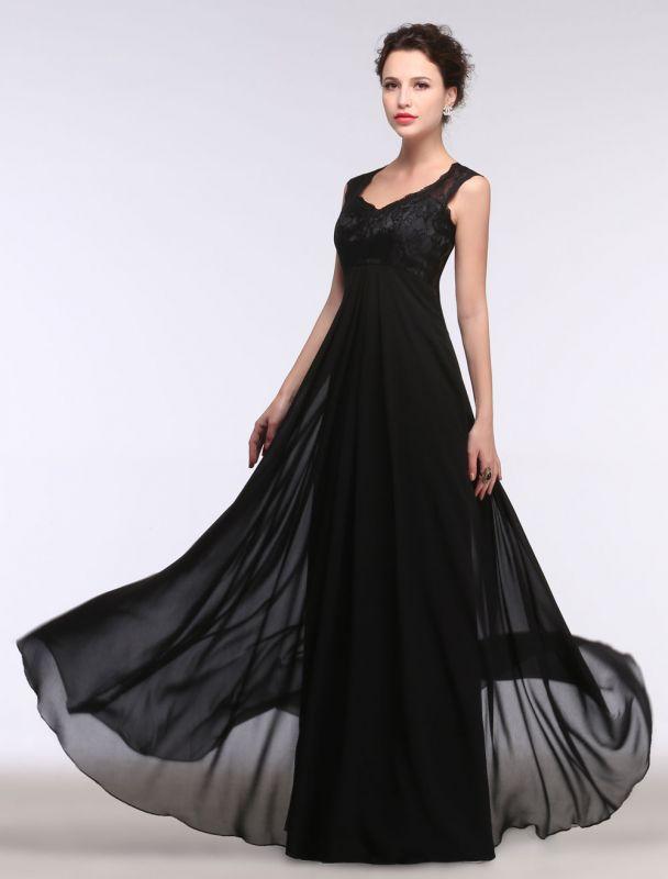 Black Evening Dress Lace Sweatheart Maxi Party Dress A Line Sleeveless Floor Length Mother'S Dress