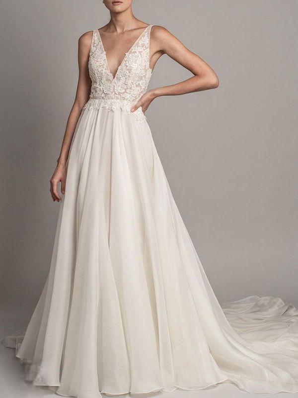 Simple Wedding Dress 2021 A Line V Neck Sleeveless Beaded Bridal Dresses With Train