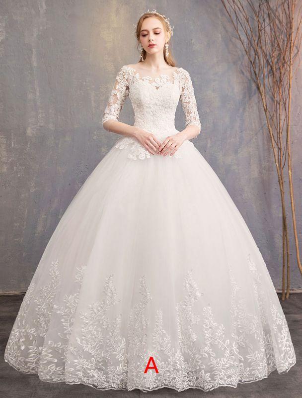 Prinzessin Brautkleider Spitze Illusion Ausschnitt Halbarm Bodenlangen Brautkleid