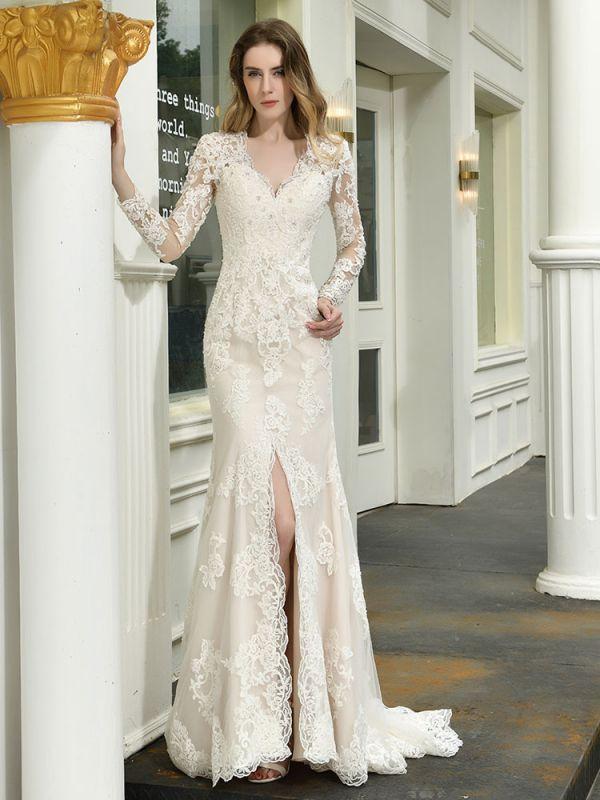 Boho Wedding Dress V Neck Sleeveless Natural Waist Lace Bridal Gowns With Train