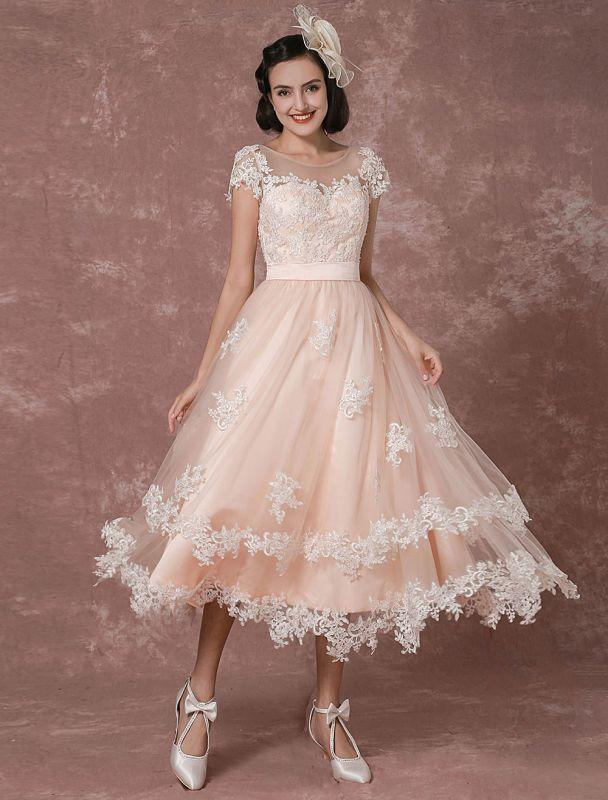Wedding Dress Short Vintage Bridal Dress Backless Illusion Lace Applique Tea-Length A-Line Reception Bridal Gown Exclusive