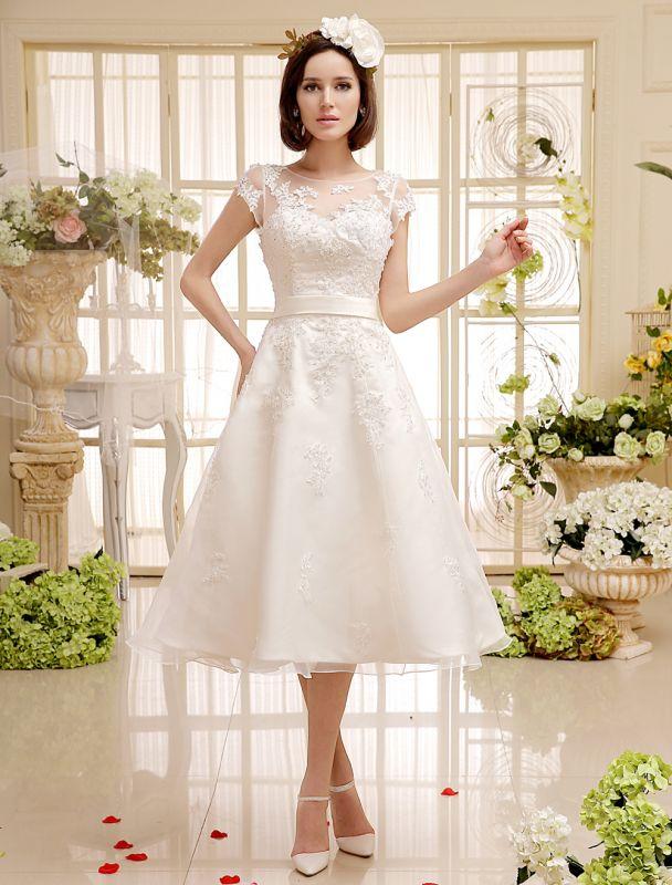 Kurze Brautkleider Elfenbein Spitze Applique Vintage Brautkleid Illusion Schatz Offener Rücken Tee Länge Brautkleider Exklusiv