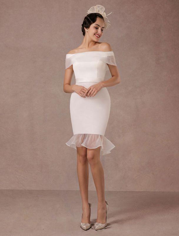 Kurzes Brautkleid Meerjungfrau Off-The-Shoulder Satin Vintage Brautkleid Rüschen Mini Braut Sommer Brautkleider 2021 Exclusive