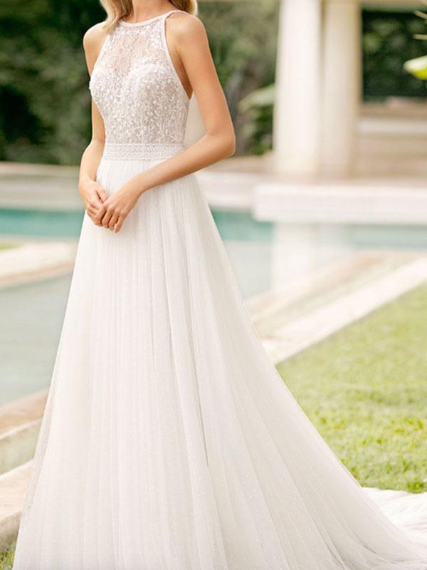 Simple Wedding Dress With Train Mermaid Dress V Neck Sleeveless Lace Bridal Dresses