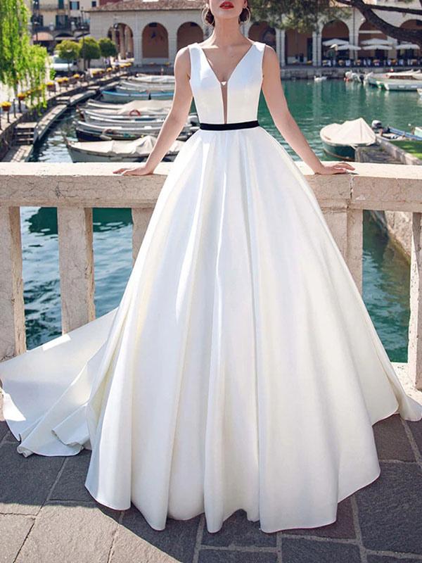 Vintage-Wedding-Dresses-V-Neck-Sleeveless-Sash-Satin-Fabric-Floor-Length-Princess-Silhouette-Bridal-Dress