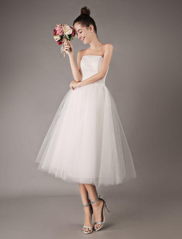 Vestidos de novia vintage Vestido de novia corto de tul sin tirantes hasta el té Exclusivo