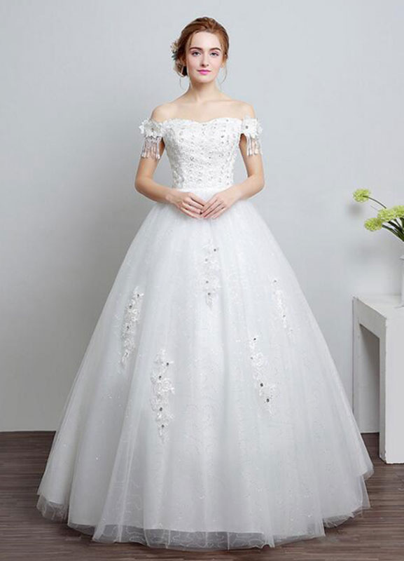 Ivory-Wedding-Dress-Off-The-Shoulder-Lace-Ball-Gown-Beaded-Floor-Length-Bridal-Dress-With-Rhinestone