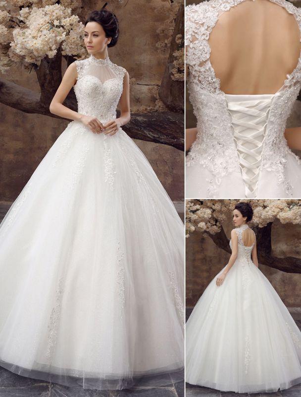 Wedding-Dresses-Ball-Gown-Bridal-Dress-Lace-Applique-Open-Back-High-Collar-Sequins-Rhinestones-Floor-Length-Bridal-Dress