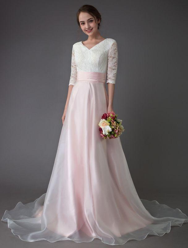Brautkleider Rosa V-Ausschnitt Halbarm Plissee A-Linie Brautkleid Mit Zug Exklusiv