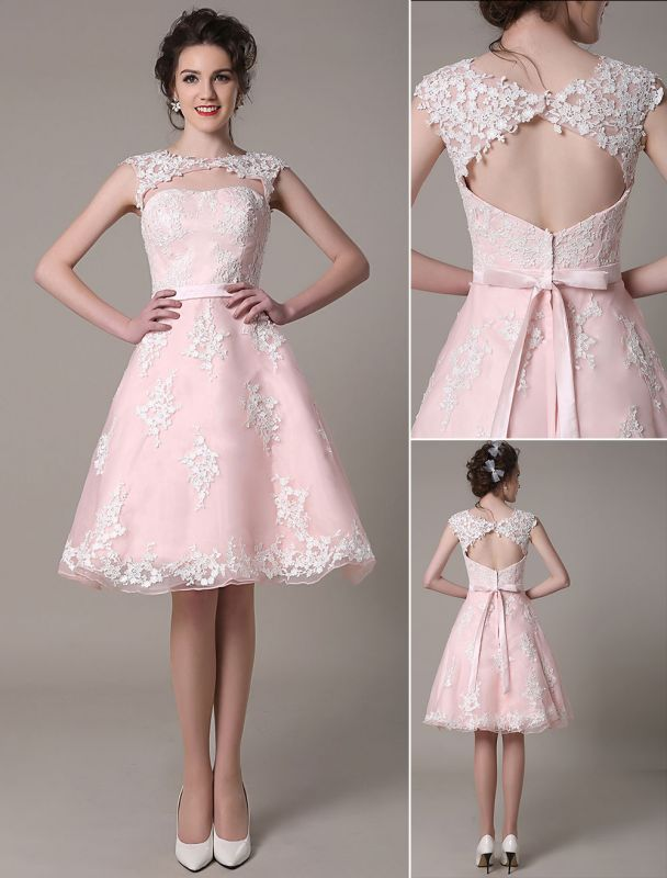 Lace Wedding Dress Cut Out Knee Length A-Line Bridal Dress With Satin Bow Exclusive