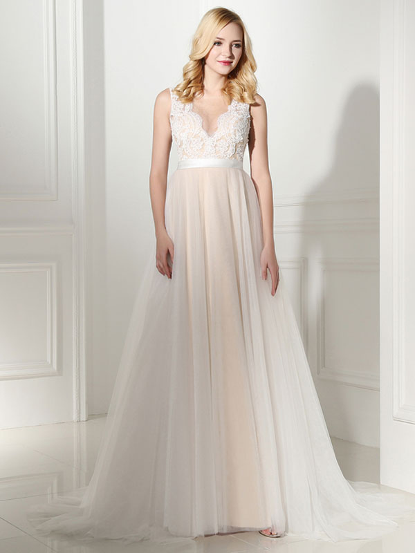Simple Wedding Dress Tulle Jewel Neck Sleeveless Pearls A Line Bridal Gowns