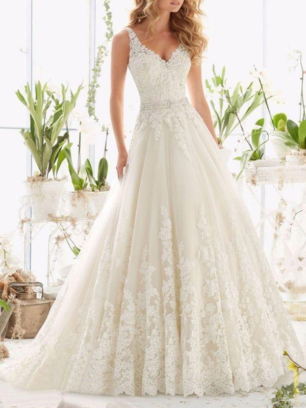 Brautkleider V-Ausschnitt Ärmellos A-Linie Spitze Verzierung Perlen Schärpe Brautkleider Mit Zug