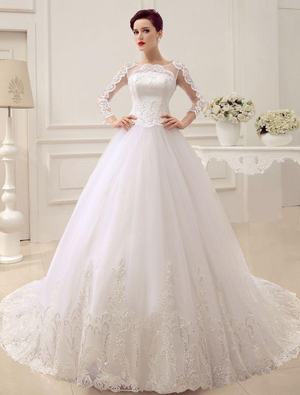 Prinzessin Brautkleider Langarm Brautkleid Spitze Applique Pailletten Perlen Illusion Ballkleid Brautkleid Mit Zug Exklusiv