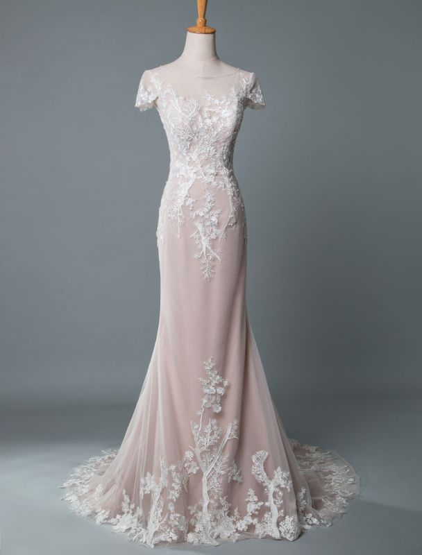 Simple Wedding Dress Mermaid Jewel Neck Short Sleeves Floor Length Customized Lace Bridal Gowns With Train
