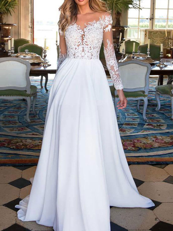 Wedding Dresses 2021 V Neck Long Sleeves Floor Length Lace Appliqued Buttons Chiffon Bridal Gowns