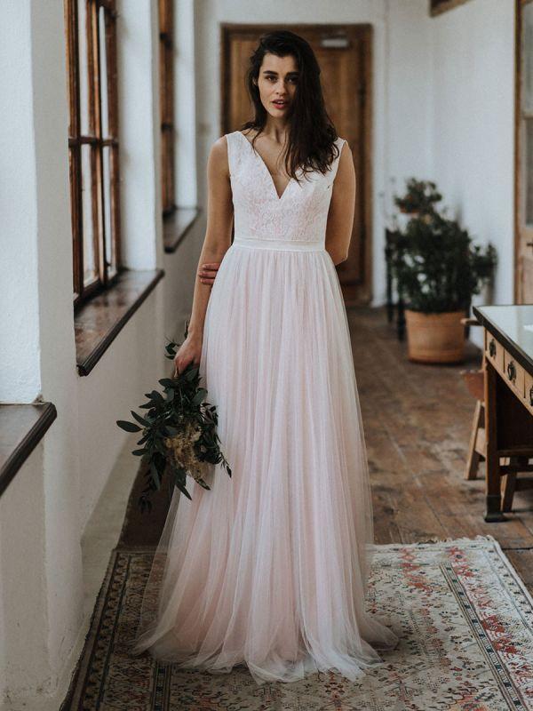 Einfache Hochzeitskleid Backless Brautkleider Chiffon V-Ausschnitt A-Linie Brautkleider