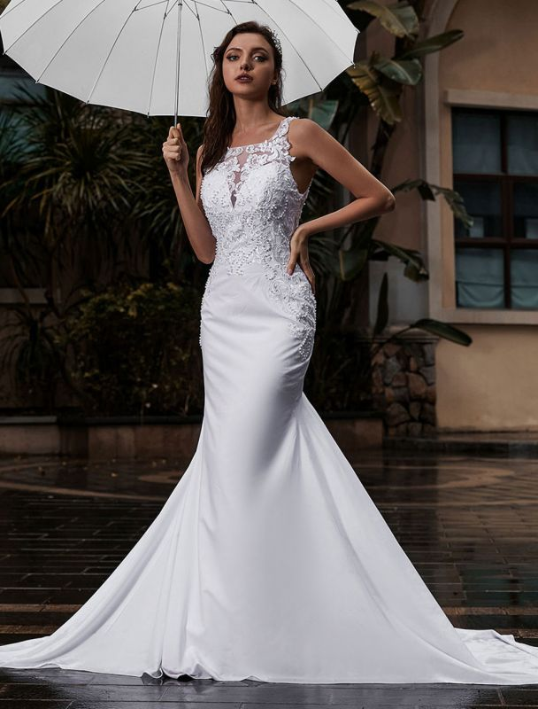 Customize Wedding Dress With Train Sleeveless Beaded Square Neck Bridal Gowns