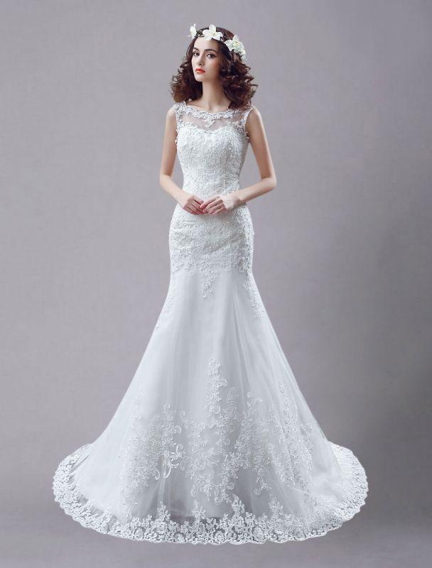 White Wedding Dress Lace Backless Bridal Dresses Rhinestones Beaded Mermaid Wedding Gown