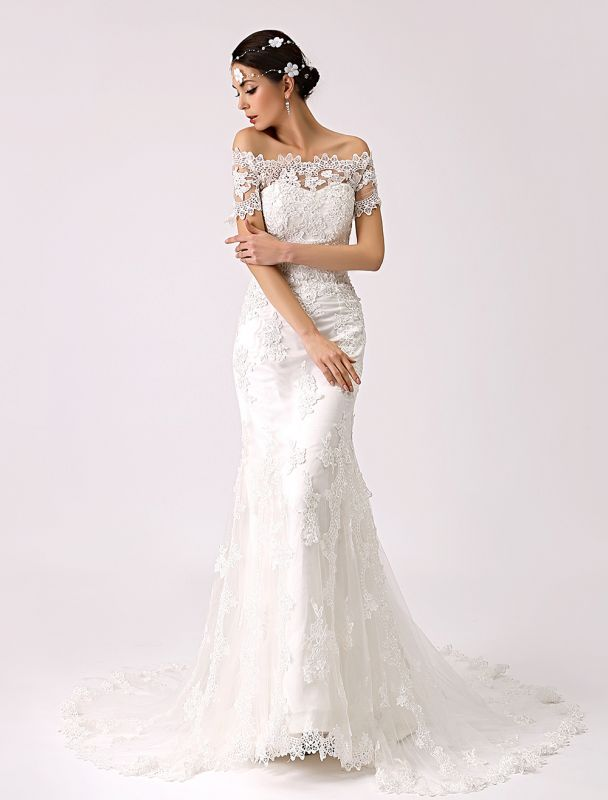 Vintage Inspired Off The Shoulder Mermaid Lace Wedding Dress Exclusive